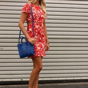 Dresses & Skirts - Red and white leaf print dress