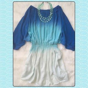 Gorgeous AVA SKY Ombré Blue Off Shoulder Dress S