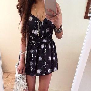 Dresses & Skirts - Dark Blue Sun, Star & Moon Spiritual Gothic Dress