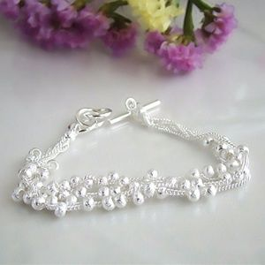 Jewelry - 925 Silver Multilayer Chain Round Ball Bracelet