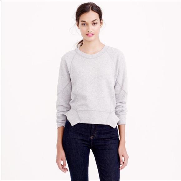 J. Crew Tops - {J. CREW} Grey Crop Peplum Sweatshirt Size XS