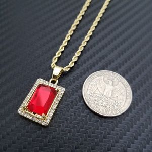 "Other - Mini Red Ruby Iced Out Pendant & 24"" Rope Chain"