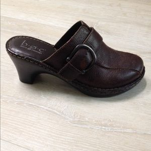 B. O. C. Born dark brown leather mules, shoes