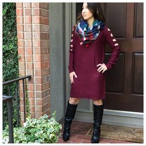 Burgundy ladder cut shoulder sweater dress
