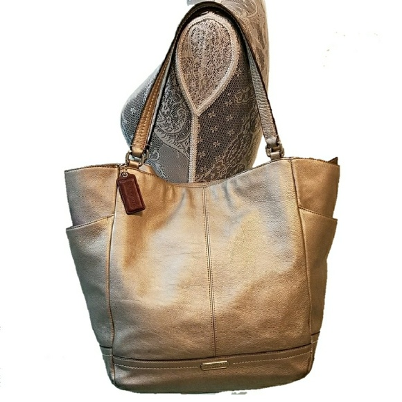 9a364b2edc ... new zealand coach park leather north south tote bag silver d4a3e 75705