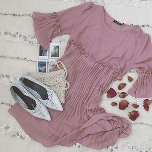 Dresses & Skirts - • Boohoo • Pink Ruffle Pleated Mini Dress •
