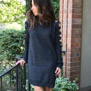Ladder cut sweater dress
