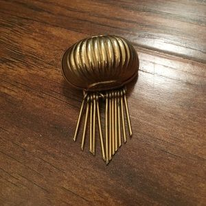 Avant Garde brass ribbed domed brooch. Artsy vtg