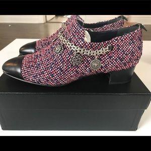 Chanel Tweed/Lamb Short Boots