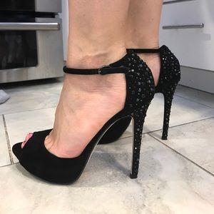 Glint Swarovski suade heels