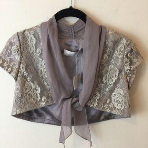 NWT Badgley Mischka Silver Lace Cropped Shrug