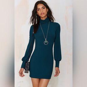 Bell Sleeves Turtleneck Dress