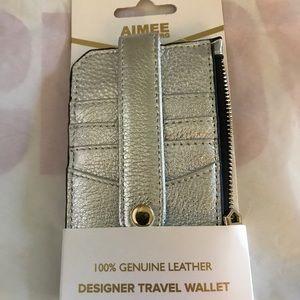 Aimee Kestenberg Silver Leather Wallet. NWT