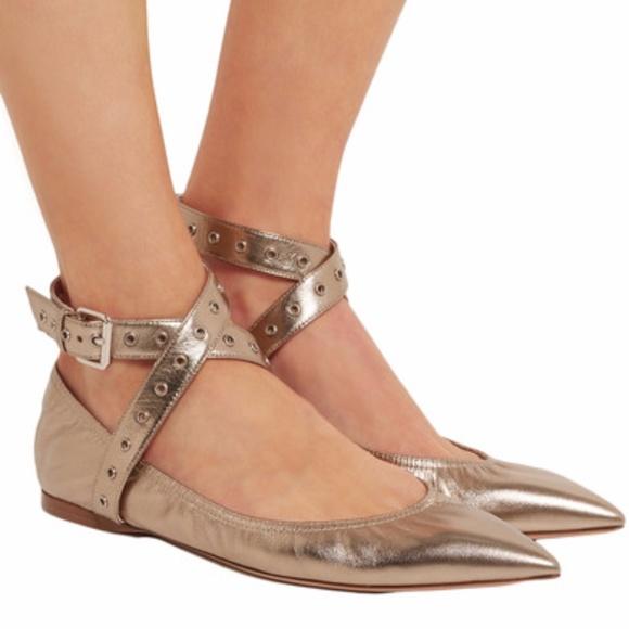 2817d7b61eb13 Valentino Love Latch Metallic Ankle-Wrap Flat. M_59e252386a583028fb021a08