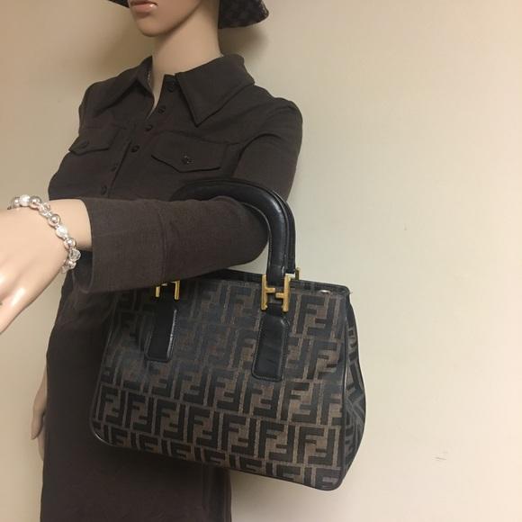 2dcc6195598a Fendi Handbags - FENDI ZUCCA VINTAGE PEQUIN STRIPE SATCHEL HANDBAG