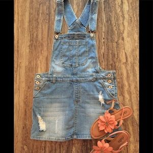 TINSELTOWN DENIM couture OVERALL DRESS Med