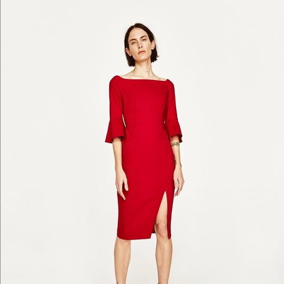 7e0424ec4c8 Zara Red Off Shoulder Shift Dress Ruffle Sleeves
