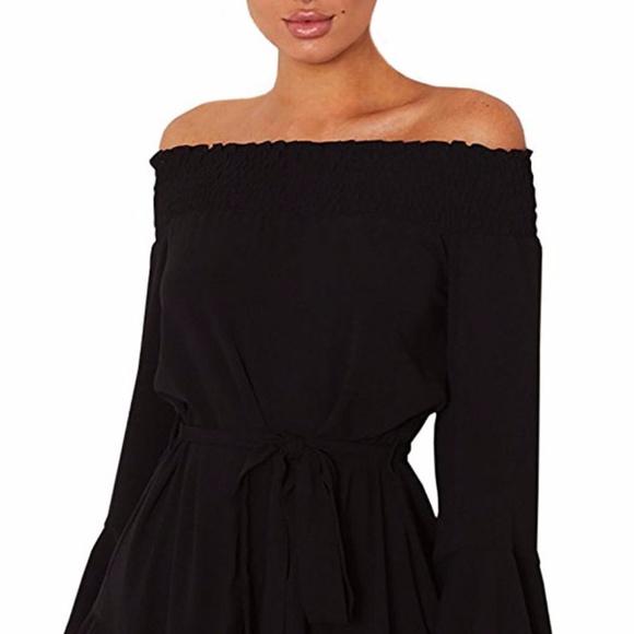 da1310309f84 Black Flare Sleeve Drop Off Shoulder Dress
