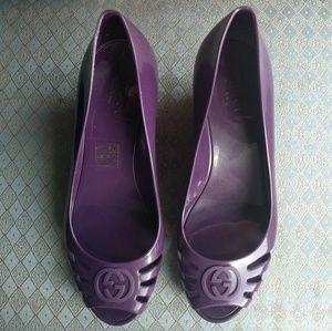 Gucci Violet Marola Peep Toe Jelly Wedge