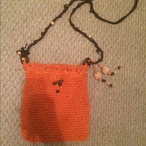 Orange Crochet Cross-Body Bag