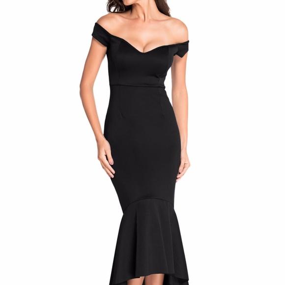 Dresses & Skirts - Black Off-shoulder Mermaid Jersey Evening Dress