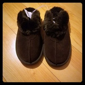 Indoor outdoor slippers, brown, net, sz 9