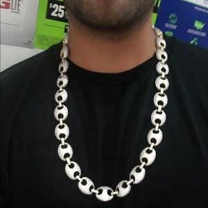 Gucci links iced out silver chain CZ diamonds