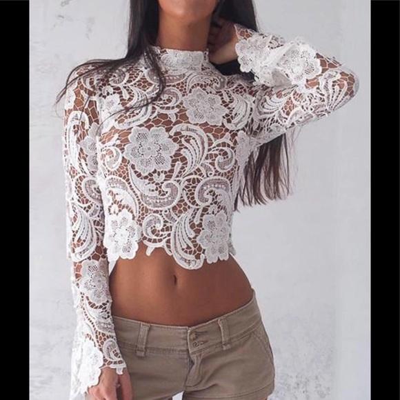 3b58ed51e2a sundance boutique Tops | Sexy White Lace Crochet Long Sleeve Crop ...