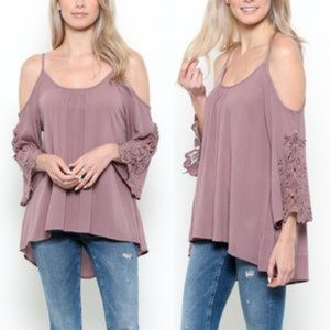 AVA cold shoulder top -plum
