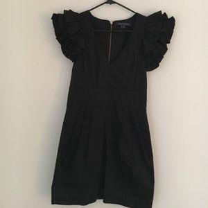 French Connection Black Ruffled Sleeve Dress
