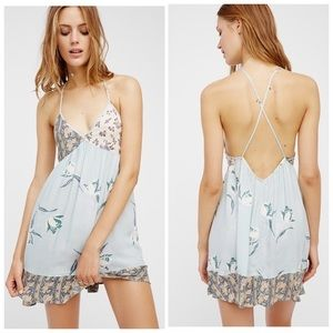 NWT Free People All Mixed Up Slip Dress Open Back