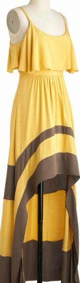 A'Reve Dresses & Skirts - A'reve size m yellow & grey/brown high low dress