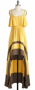 A'Reve Dresses - A'reve size m yellow & grey/brown high low dress