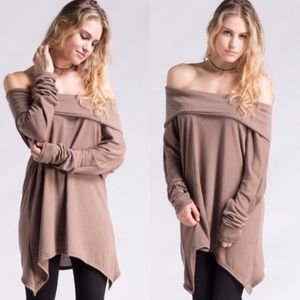 Tops - Mocha Off Shoulder Brushed Knit Oversized Top