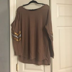 Tops - Mocha tunic with sequin sleeves
