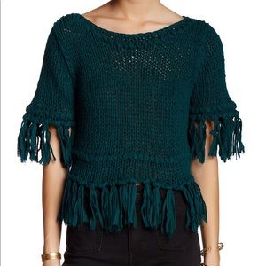 Free People Teal Fringe Pullover