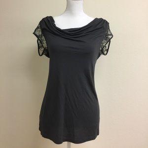 Express dark gray shirt sleeve blouse