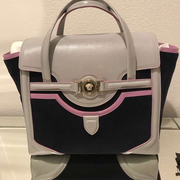 7f08ca37d2fa Versace Borsa Suede Short Handle Bag W  Strap