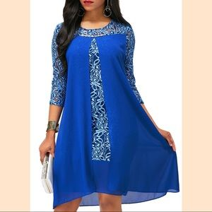 Royal Blue Asymmetric Hem Lace Patchwork Dress