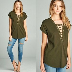 Tops - Olive Lace Up Top