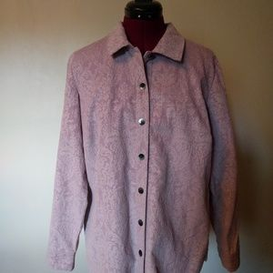 J. Jill Button Up Jacket Shirt Lavender Corduroy