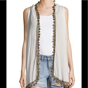 White Multi Colored Tassels Cover Up Open Front