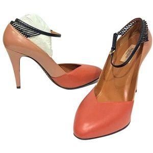 Valentino Garavani tan/ pink rockstud heels