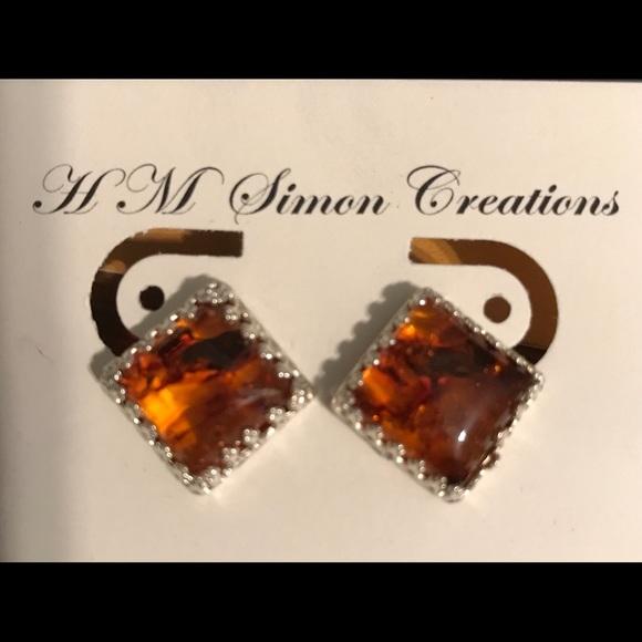 eabbe09d6 Handmade by HM Simon Jewelry   Sterling Silver Baltic Amber Earrings ...