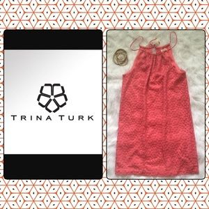 Trina Turk LA Coral Floral Eyelet A Line Dress 4 S