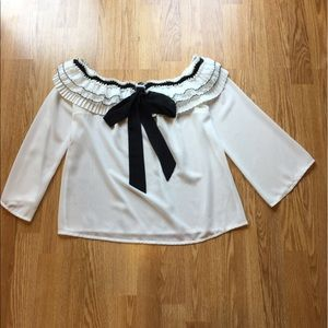 Tops - Off the shoulder white top size Small (never worn)