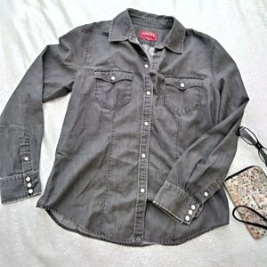Gray Light Denim Button Down Shirt