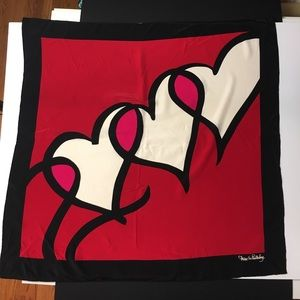 Diane Von Furstenberg Accessories - DVF Huge heart print silk scarf signed