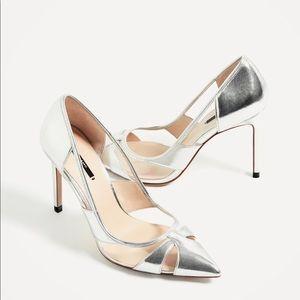 9157f1c5179 Zara Shoes - Zara Metallic Silver Vinyl High Heels