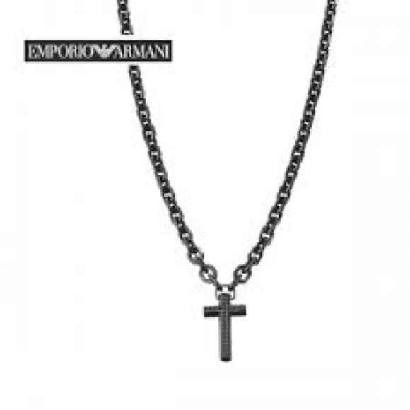 346513a4a Emporio Armani Jewelry | Black Cross Necklace Egs1393 | Poshmark